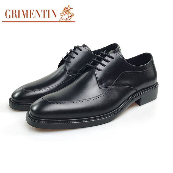 GRIMENTIN High grad oxford shoes genuine leather mens dress shoes black brown Italian fashion designer business wedding formal male shoes CW