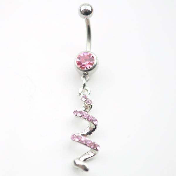 D0013-1 ( 2 colors ) piercing body jewelry new style navel belly ring clear & PINK colors stone drop shipping