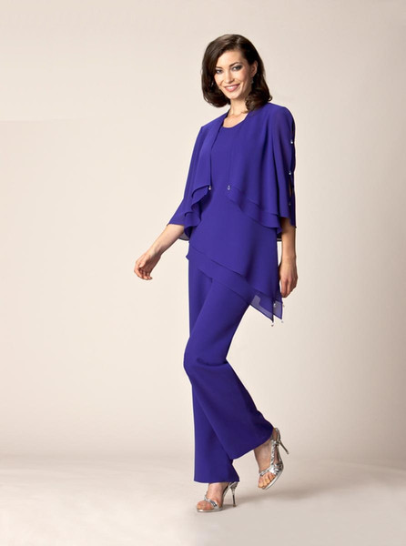 Purple Mother Of The Bride Pant Suits Summer Formal dresses Scoop Neck flutter sleeve Crystal details AE5219
