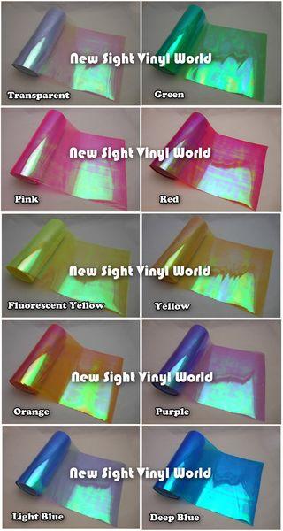 10 rouleaux / lot 10 couleurs effet arc-en-ciel lumière caméléon phare film de lumière arrière teinte film vinyle couleur changement taille: 0.3 * 10m