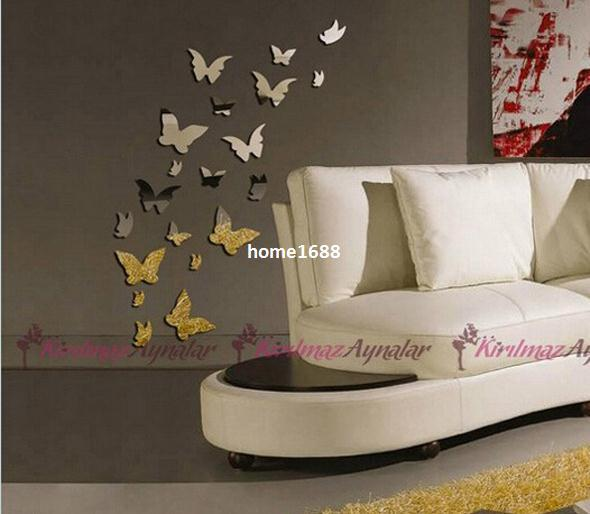 Butterfly Wall Stickers Docors Art DIY Decorations Paper acrylic mirrors sitting room background flowers 3D wall stickers