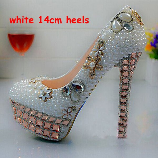 Shiny Luxury Crystal Pearl Lady S Formal Shoes Women S High Heels