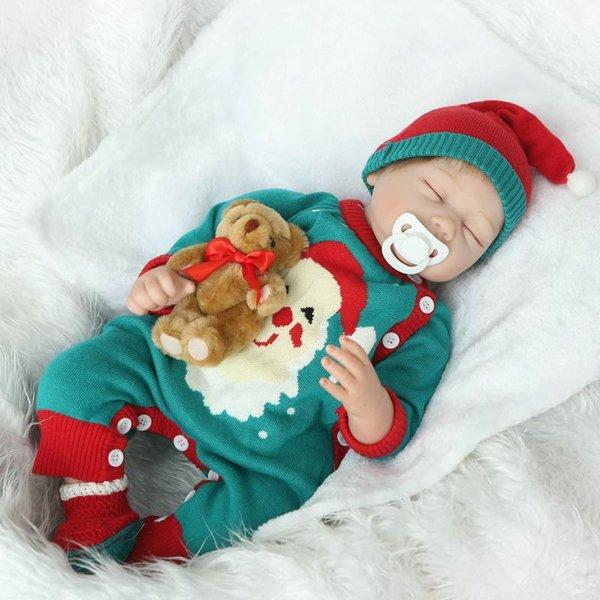 Toptan-Reborn Baby Doll Yumuşak Silikon 22 inç 55 cm Yılbaşı Giysileri Içinde Manyetik Güzel Gerçekçi Sevimli Uyku Kız Oyuncak
