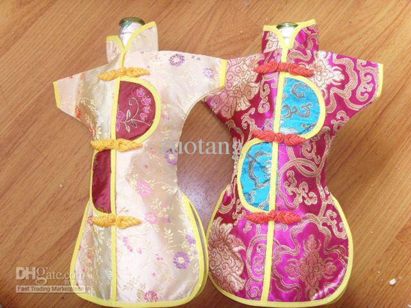 Vintage Chinese style Wine Covers Bottle Packaging Bags Silk Fabric Christmas Wedding Party Table Decoration 10pcs/lot mix color