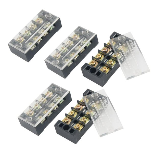 top popular IMC Wholesale 5 Pcs Dual Row 4 Position Covered Screw Terminal Strip 600V 25A order<$18no track 2021