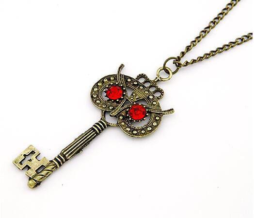 Women Vintage Retro Bronze Owl Key Pendant Necklace Chain Sweater Long Chain Animal Necklace Wholesale 12 Pcs
