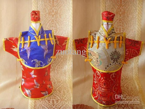 Creative Vintage Chinese style Hooded Wine Bottle Clothes Bag Festive & Party Table Decoration Silk Pattern Bottle Cover 10pcs/l