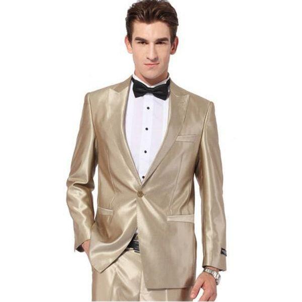 Custom Made gold tuxedo jacket Wedding Suit for Men Groom Tuxedos ...