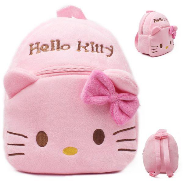 plush school bag 2017 New High Quality Hello Kitty plush school bag Cartoon soft Backpack Girl Toy Schoolbag baby cute mini bags