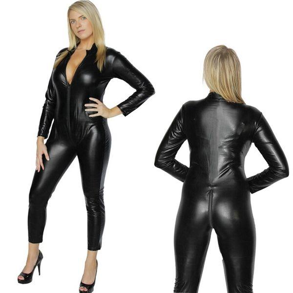 top popular 2017 Women's Sexy Vinyl PVC Black Cat Suit Catsuit Ladies Zipper Stretchy Jumpsuit Clubwear Sexy Adult Halloween Fancy Costume 2019