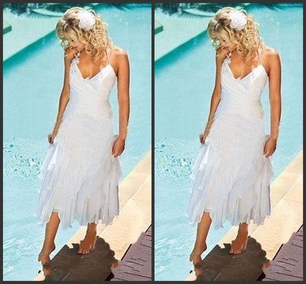 2019 Nuevo Barato Corto Bohemio Vestidos de Novia de Playa Cuello Halter Longitud de Té Verano Boho Estilo Blanco Gasa Vestidos de Novia 341