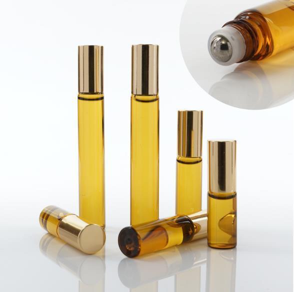 top popular Portable 10ml Mini Roll On Glass bottle fragrance PERFUME Amber Brown THICK GLASS BOTTLES ESSENTIAL OIL bottle Steel Metal Roller ball B813 2021