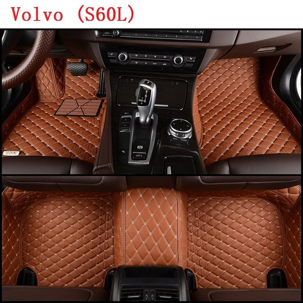 SCOT Custom-Fit All Weather Leather Car Floor Mats for Volvo S60L-E 2015-2017 Waterproof 3D Anti-slip Carpets Left Hand Drive Model