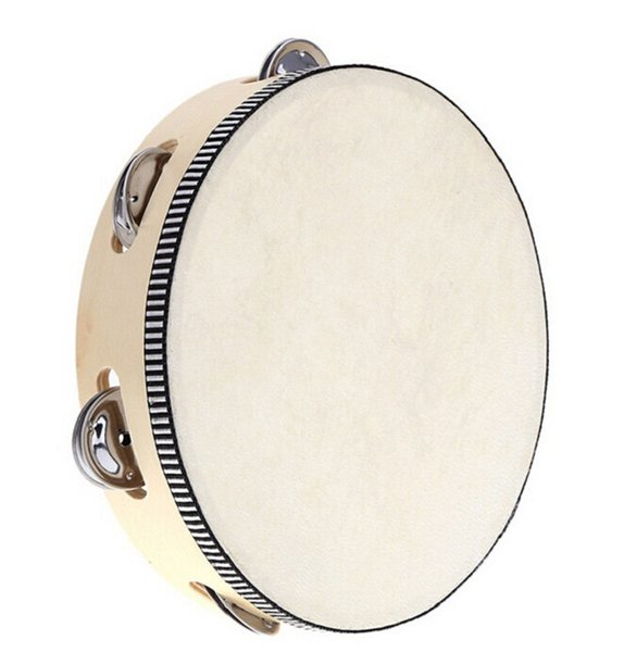 30pcs new arrive Toy Musical Instrument Tambourine 6 inch Hand Held Tambourine Drum Bell Birch Metal Jingles Musical Toy for KTV Party D126