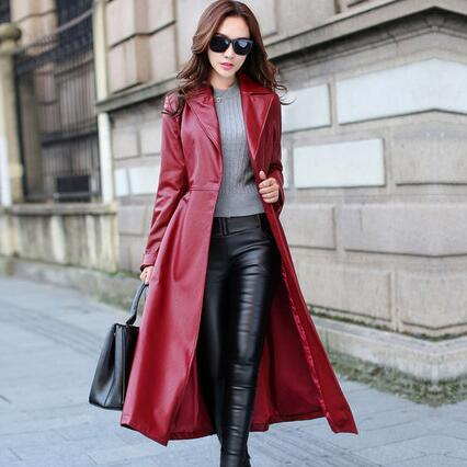 top popular 2020 Spring Autumn Women Leather Jacket Fashion High-end PU Leather Coats X-long Belted Slim PU Leather Trench Coats 2020