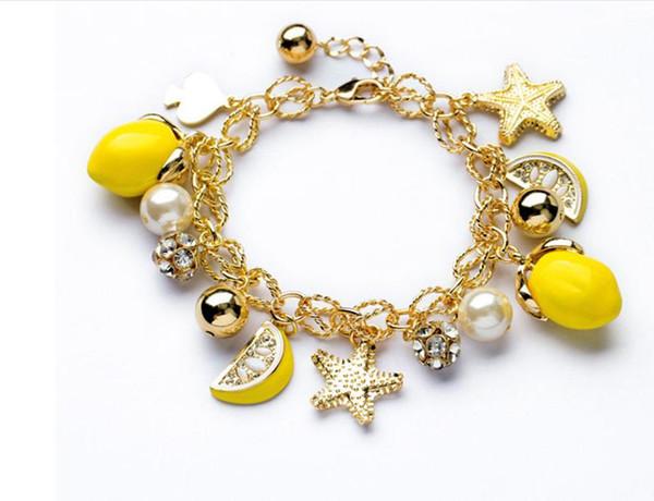 2016 Hot Snap Button Bracelets Newest Design European and American big 2016 NEW Great fresh lemon yellow watermelon fruit starfish bracelet