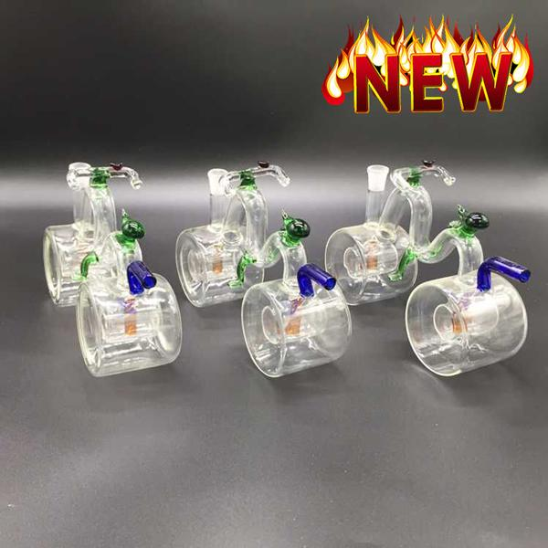 Unique Bongs For Sale Female 10mm Small Bike Crystal Smoking Glass Pipes Cool Glass Pipes Recycler Oil Rigs
