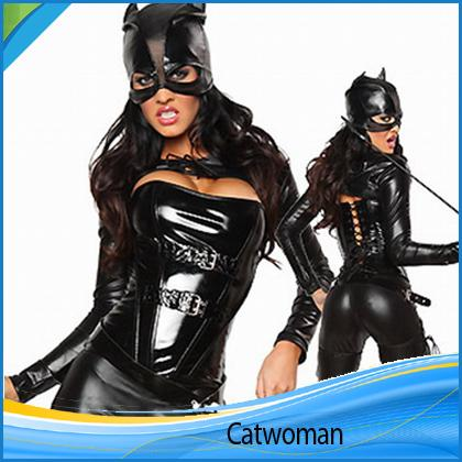 Villain Short Waistcoat Halloween Catwoman Knight Breasts Fancy Leather  Vest Pants Halloween Cat Woman Stage Outfit Costumes Catwoman Mask Adult  Group