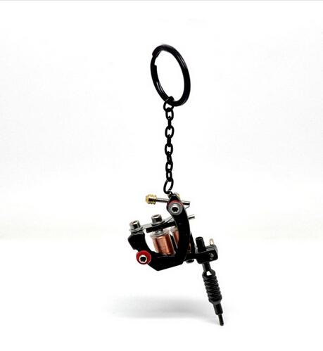 "Gun Metal Mini Tattoo Machine With Key Chains & Key Ring Tattoo Supplies 15cmx4cm(5 7/8""x1 5/8"") 5Pcs/lot Wholesale"