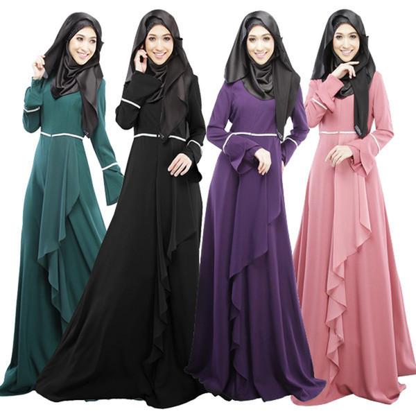 top popular Abaya muslim dress turkish women clothing islamic abayas jilbab musulmane vestidos longos clothing dubai kaftan longo giyim pink 2019