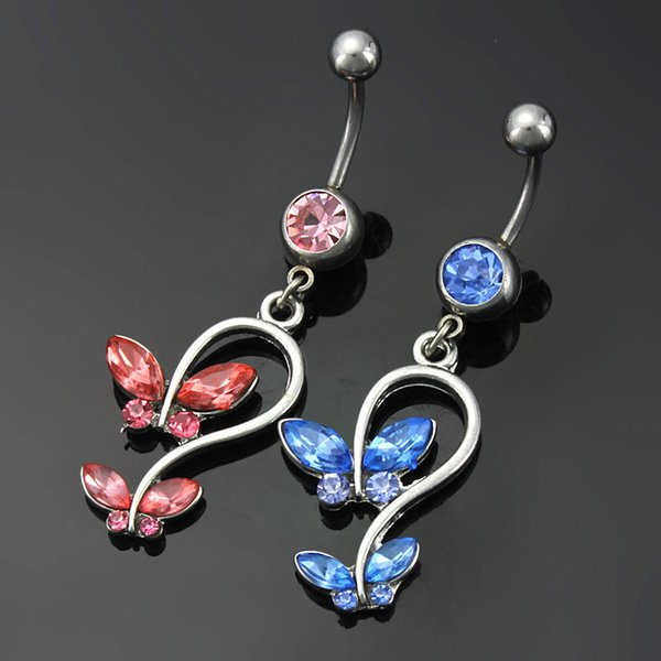 Red Blue Crystal Butterfly Style Navel Ring Belly Button Body Piercing Jewelry 2 Colors for choices 10PCS/Lot