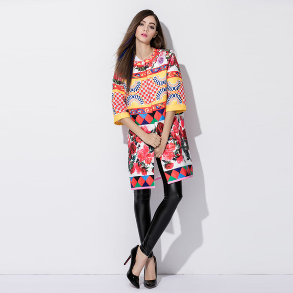 Custom Dress S-7XL 2017 Autumn Newest Covered Button O-Neck Europe Fashion Check Rose Jacquard Weave Print Plus Size Coat Women