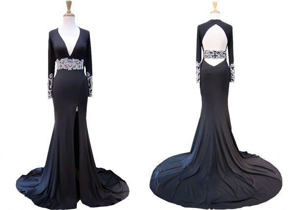 Großhandel Vintage Langarm Schwarz Pageant Prom Kleid 2018 Günstige ...