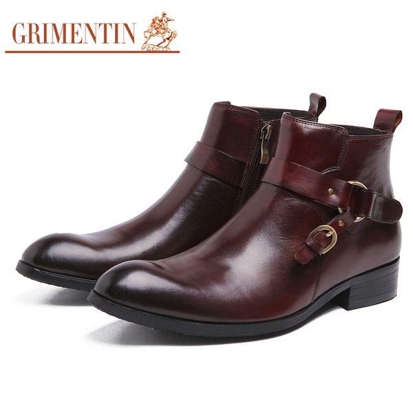 GRIMENTIN Fashion Brand Designer Dress Mens Boots Genuine Leather Buckle Zip Formal Business Men Ankle boots Hot Sale Black Brown Mens Shoes