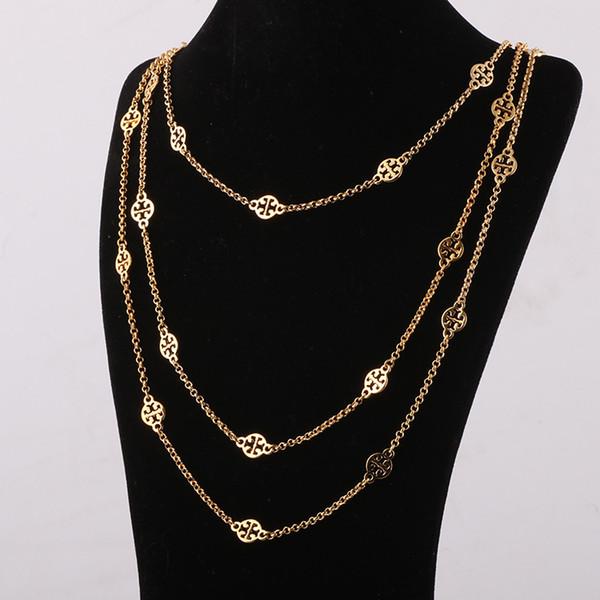 Top marque en laiton matériel ornement creux pendentifs en trois couches or et argent plaqué longueur du collier 68cm / 77cm / 88cm pour les femmes bijoux