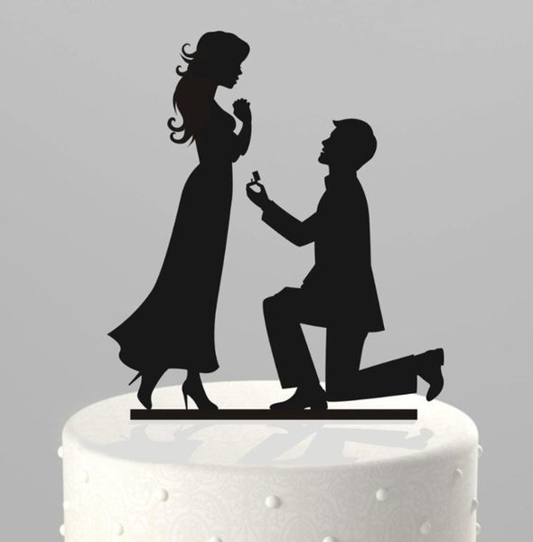 Romantic Creative Wedding Cake Decorations Acrylic Cake Topper Kneeling Propose Marriage In Cake Top Cheap Wedding Supplies Party Decoration