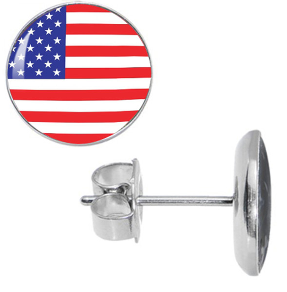 Wholesale Studs Earring 50pcs/lot Surgical Steel The USA Flag Ear Stud Earrings Cheater Plugs Fashion Jewelry Diameter 10mm*1.2mm ZCST-008
