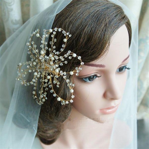 Wedding Bride Bridal Pearls Crystal Rhinestone Hair Clip Hairpins Tiaras Headpiece Gold Silver Handmade Jewelrys Clip Pins