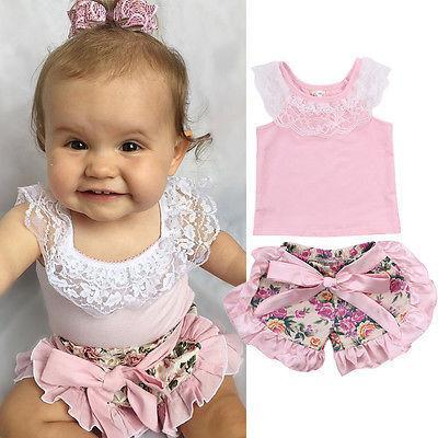 Venta al por mayor - Hot Kids Lace Tops Baby Girl Pink camiseta Toddler Floral Shorts Moda Infantil Conjuntos de verano Conjunto