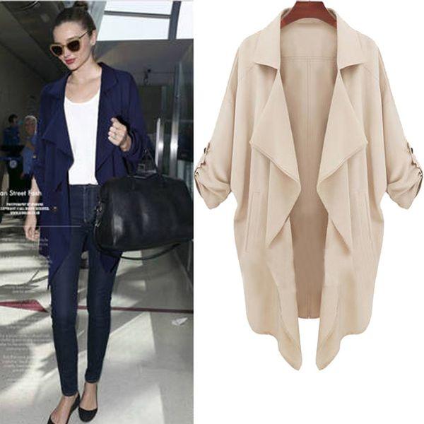 Yeni Moda Sonbahar Giyim Ceket Artı Boyutu Kadın Orta-Uzun Sashes Siper Palto Ince Kadın Rahat Casaco Feminino Mantea