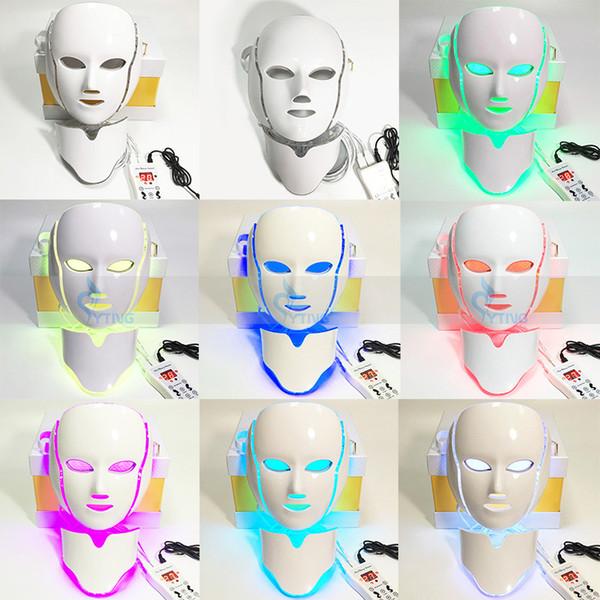 Cuidado de la piel de alta calidad Terapia de luz LED Rojo Azul Amarillo 7 colores Máscara Fotón Eliminación de arrugas PDT Cuello microcorriente Facial Spa Use la máquina