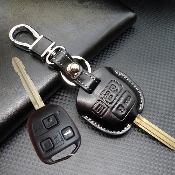 Cuir lexus 2 3 Boutons De Voiture Shell Shell Case couverture pour Toyota Corolla RAV4 PRADO YARIS land cruiser porte-clés portefeuille porte-clés accessoires