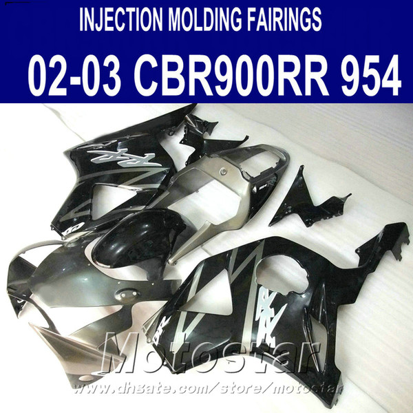Injection molding Motorcycle parts for Honda cbr900rr fairings 954 2002 2003 silver black CBR954 plastic fairing kit CBR900 RR 02 03 YR14