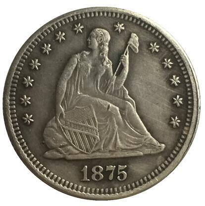 1875-CC Seated Liberty Quarter COPIEZ L'EXPÉDITION GRATUITE
