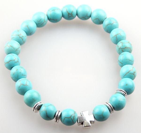 Vendita calda gioielli 8mm naturale pietra semi preziosa perline braccialetto di lava turchese argento antico croce bracciali per le donne regalo dell'uomo