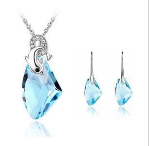 Brandnew 2014 autentico cristallo austriaco di modo forma irregolare orecchini collana set di gioielli da sposa all'ingrosso