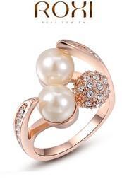 Beyaz inci elmas altın bayan yüzük tüm boyut (88) jutu