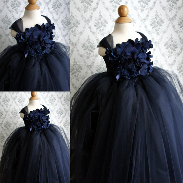 New Cute 2019 Flower Girl Dresses Sheer Straps Flowers Ball Gown Floor Length Custom Cheap Navy Blue Child Girls Pageant Brithday Party Gown