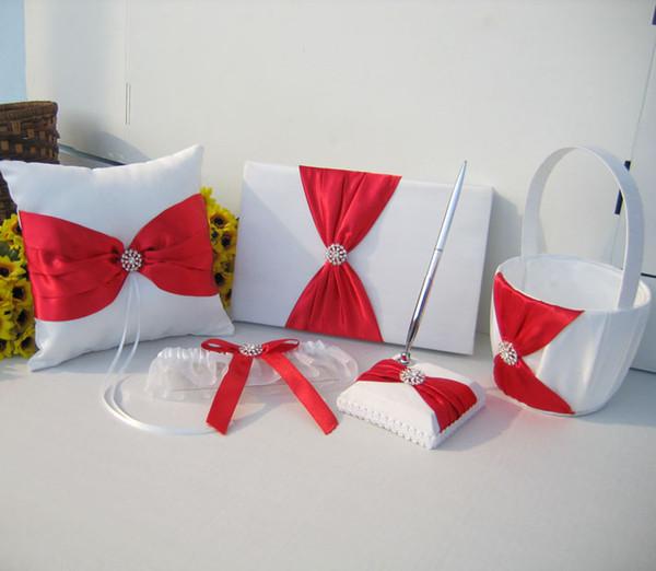 Acheter 5 Pieces Blanc Satin Rouge Ruban Arc Cristal De Mariage Anneau Oreiller Fleur Fille Panier Ensemble Livre D Or Pen Set Complet De Mariage