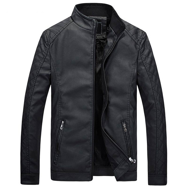 Wholesale- Hot autumn and winter brand men 's leather jacket motorcycle suit casual jacket classic leather jacket coat
