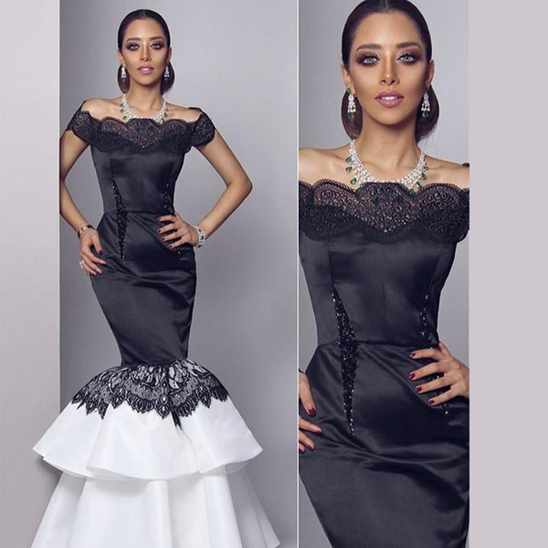 best selling Myriam Fares Celebrity Dresses 2015 Black and White Mermaid Bateau Neckline Beaded Lace Trimmed Tiered Skirt Floor Length Evening Gowns