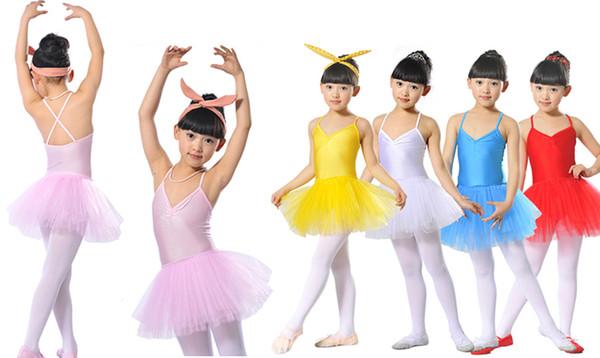 Оптовая дешевые цена дети дети девочки красный розовый желтый белый синий балет танец платье пачка юбка костюм танцевальная одежда костюм 2-12 лет