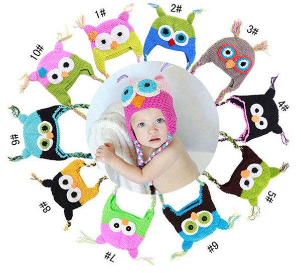 300PCS best price 10 Color crochet hats for kids Baby hand knitting owls hat Knitted hat Children's Caps D401
