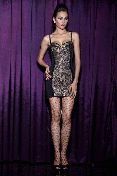 Día de San Valentín regalo moda sexy nuevo estilo una pieza vestido adelgazante material spandex negro encaje sexy chemises lencería sexy