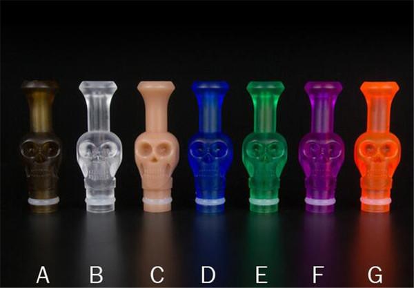 E Cigarette Skull Acrylic Drip Tips colorful Mouth 510 Drip tip E for RDA RBA vaporizer Electronic Cigarette Accessories