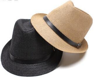 Unisex Women Men Casual Beach Sun Straw Panama Jazz Hat Cowboy Fedora Cap , 6PCS/LOT Free shipping